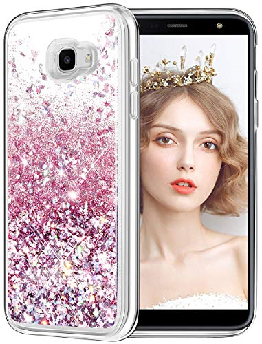 wlooo Glitzer Hülle Kompatibel mit Samsung Galaxy A3 2017, handyhülle A3 2017, Samsung A3 2017 Flüssig Treibsand Glitter Gradient Quicksand Weich TPU Bumper Silikon Schutzhülle (Rose Gold)