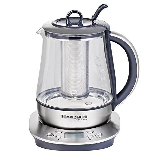 ROMMELSBACHER TA 1400 2in1 Teekocher und Wasserkocher (1,2 l, Teekanne aus original Schott DURAN Glas, 6 Programme, individuelle Temperaturwahl, Warmhaltefunktion, Edelstahl-Teesieb) Edelstahl/Glas