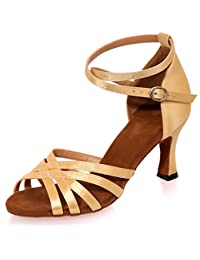 Elobaby Zapatos De Baile para Mujer Sandalias Toe Peep Jazz Bombas De SatéN Tacones Bajos Hebilla De SatéN/34-...