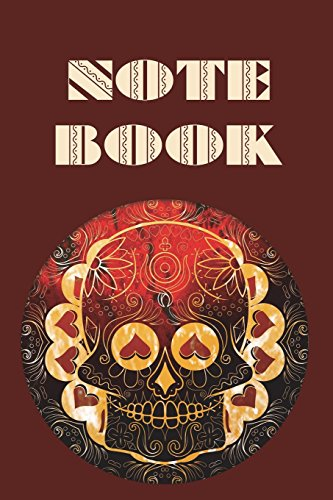 l - Day of The Dead - Composition Book .  Cornell Notes  - Fire Red Hearts Sugar Skull ()