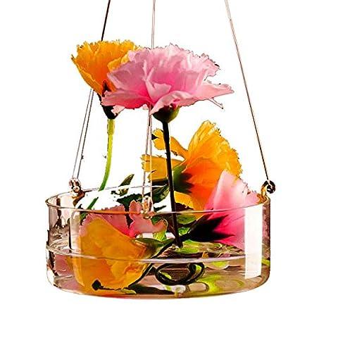 Plantes hydroponiques suspendues en verre Vase Avec pot Crochet Flower Garden Decor
