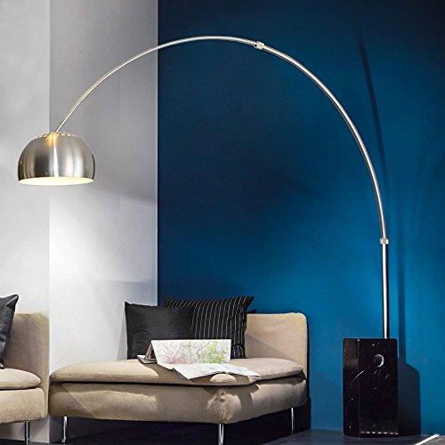 s.LUCE Cowry / Bogenleuchte mit Marmorfuss / schwarz / Stehlampe Bogenlampe