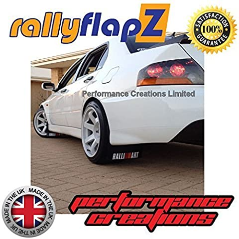 Genuine rallyflapZ (Made in the UK) Full Set of 4 Mudflaps Including all Fixings/Hardware Required & Full Fitting Instructions! (Mud Guard / Mud Flaps Kit) 4mm Thick Flexible PVC Black with Ralliart Logo White (red & orange