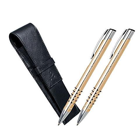 Faites cadeaux personnalisés - 2 x or stylos à bille, plus Pen Case en cuir noir (bleu et encre