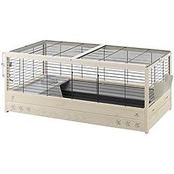 Ferplast 57089717 Arena 120 Meerschweinchen- und Kaninchenheim aus Holz, schwarz, 125 x 64.5 x 51 cm