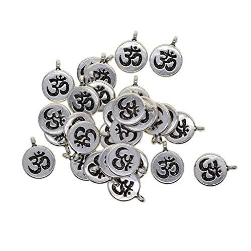 P Prettyia 30x Tibetan Silber Aushöhlen Yoga Lotus Blume klein-Anhänger Deko Basteln Aufhängen - OM, 18 x 15 mm