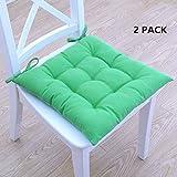 UNIAI 2Pack Sitzkissen/Sessel Polster Zierkissen Kissen–Polyester Pad Esszimmer Garten Küche Stuhl Kissen 40* 40cm/40,6x 40,6cm grün