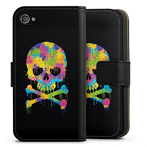Apple iPhone X Silikon Hülle Case Schutzhülle Skull Watercolour Totenkopf Schädel Sideflip Tasche schwarz