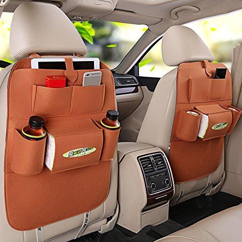 Haosen 2 Stück Multifunktionssitzauto Rückentasche des Autositzes mit mehreren taschen Auto-Aufbewahrungsbeutel Autositze Zubehör - Geeignet für 99% der Fahrzeugmodelle (Braun) Hund Wasser Warnwesten