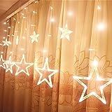 Cortina de Luces LED - [Forma de Estrella] HanLuckyStars Cortinas Luces LED Estrellas de Navidad 12 Estrellas 138 LEDs con 8 modos para Naviada Fiesta Boda Jardín Terraza Balcones Barandillas (Blanco Cálido)