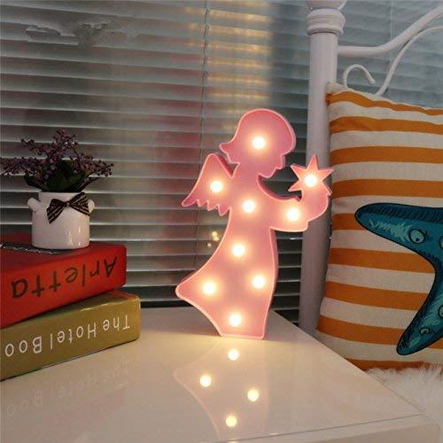(QiaoFei 3D-Krone Festzelt, Licht, LED Queen Princess Kings Form Licht, Wanddekoration für Chistmas, Geburtstagsparty, Kinderzimmer, Wohnzimmer, Hochzeit, Party-Dekoration Art Deco Angel-pink)