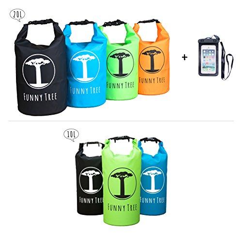 Funny Tree® Drybag. (10L blau) Wasserdichte (IPx6), optimierte Sporttasche. Als Strandtasche | als Urlaub Zubehör | Stand Up Paddle | Angel Zubehör | schwimmfähig | Sling Bag | Segeln | Schlauchboot