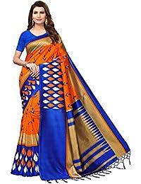 ANNI DESIGNER Women's Silk Saree with Blouse Piece (Lawn Orange & Blue_Orange & Blue_Free Size)