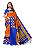 Art Decor Sarees Women's Mysore Silk Printed Saree with Tassels Border (Orange & Blue)