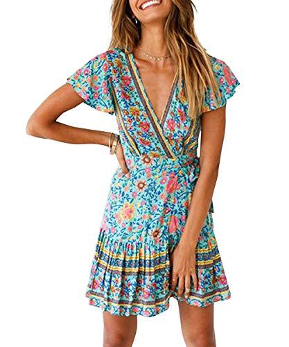 Durio Sommerkleid Damen Kleider Kurz Boho Kleid A-Linie Minikleid V-Ausschnitt Strandkleid mit Gürtel Grün EU 36 (Herstellergröße S) (Volant Weiß Grün)