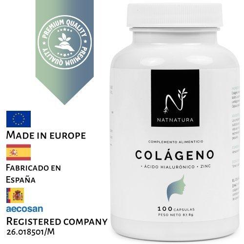 Colágeno hidrolizado. Colágeno con ácido hialurónico + Vitamina C + Zinc. Nº1 en Colágeno. Piel sana, articulaciones fuertes. 100 cápsulas con ingredientes de máxima pureza y efectividad.