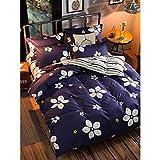 JSDJSUIT Set di Biancheria da Letto 4 Pezzi copriletto Set Deep Blue Flower Campagna Style Comodo Lenzuolo Set-King 4 Pezzi