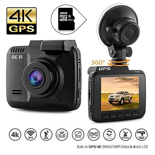 DashCam Autokamera DVR Dashboard-Kamera Rekorder mit 4K FHD, eingebautes WiFi & GPS, APP- Support, G-Sensor, 2.4″ LCD-Display 150 GradWeitwinkelobjektiv Schleifen-Aufnahme Großartige Nachtsicht, Überwachung beim Parken(32GB Micro SD-Karte inklusive)