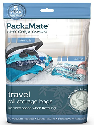 Packmate ® 3 Roll Up Travel Vacuum Space Saver Storage Bags For Holidays, Travelling, Large Suitcases & Rucksacks