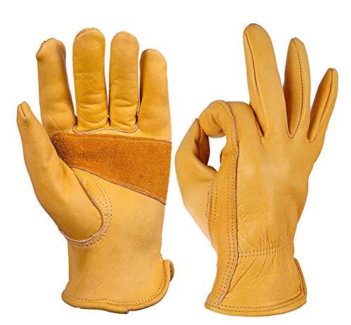 guanti in pelle scamosciata, da uomo e da donna, adatti per equitazione, sport all'aria aperta, giardinaggio, officina, colore giallo.