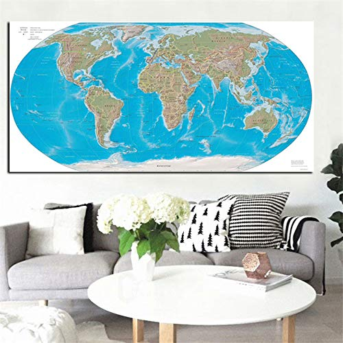 Abstrakte Moderne Globus Weltkarte Leinwand Malerei Poster Drucken Kunst Wandbild Für Büro Tagungsraum Schule Caudros Wohnkultur 60x120 cm Ungerahmt