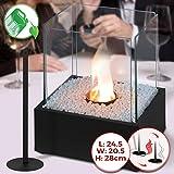 Cheminée Éthanol de Table - Mobile, 24.5 x 20.5 x 28 cm, en Acier Inoxydable, 4 Panneaux en Verre, avec Pierres Décoratives - Cheminée à Poser au Sol, Poêle Éthanol