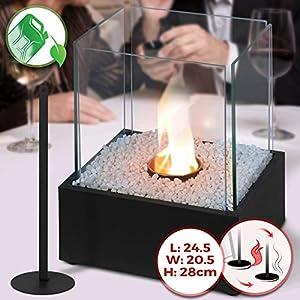 Tischkamin – Edelstahl, Bio-ethanol, für den Innen- und Außenbereich, inkl. Steine, Schwarz – Feuerstelle, Glaskamin, Glasfeuer, Tischfeuer, Tisch-Dekofeuer