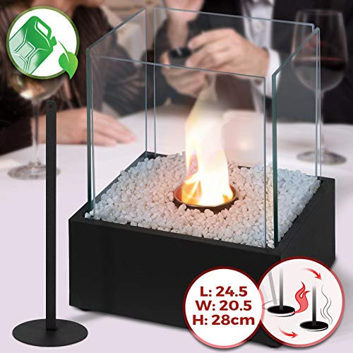Tabletop Bio-Ethanol Fireplace | 24.50 x20.50 x 28 cm, Stainless Steel Body, 4 Heat Resistant Glass Panels, Single Burner, with Extinguishing Tool & Decorative Stones | Portable Fire Pit