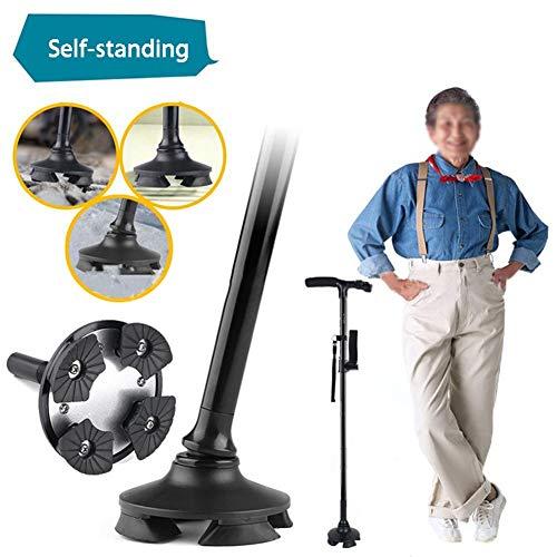 HLJ WS Gehstöcke Mit LED-Licht Höhe Verstellbar Wanderstock Gehhilfe,5 Gang Einstellung,Für Behinderte Senioren,Höhe 85-97Cm