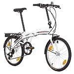 Multibrand-PROBIKE-Folding-20-20-Pollici-310-mm-City-Bike-Pieghevole-6-velocit-Unisex-Anteriore-e-Posteriore-Mudgard-Shimano-Bianco-Verde