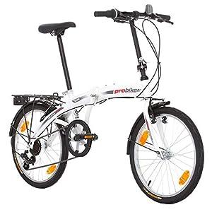 51X8V2pGAgL. SS300 Multibrand, PROBIKE Folding 20, 20 Pollici, 310 mm, City Bike Pieghevole, 6 velocità, Unisex, Anteriore e Posteriore Mudgard, Shimano, Bianco Verde