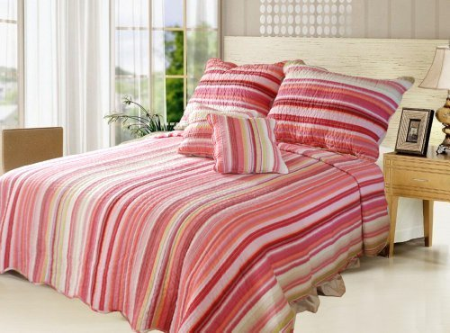 DaDa Bedding DXJ101824 Stunning 5-Piece Quilt Set, California King, Striped by DaDa Bedding