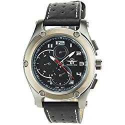 MICHAEL JOHN -MENS WATCH BLACK BLANC Quartz Stainless Still Case Analog Display FAUX LEATHER BLACK BAND