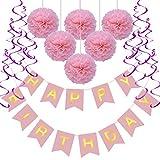 Geburtstag Dekoration Set, Rusee DIY Happy Birthday Girlande Quasten Set Geburtstag Dekoration Seidenpapier Pompons Pompoms Rosa Folie Spirale Kindergeburtstag Deko