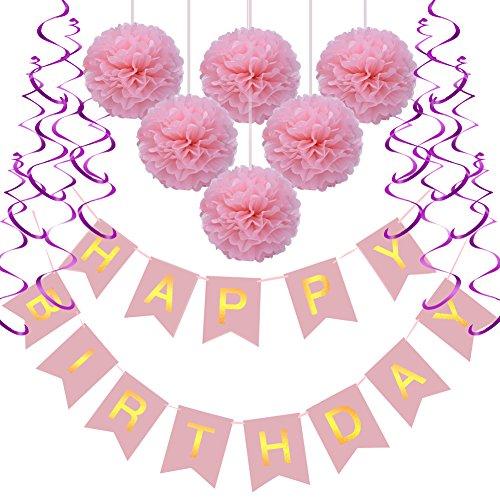 n Set, Rusee DIY Happy Birthday Girlande Quasten Set Geburtstag Dekoration Seidenpapier Pompons Pompoms Rosa Folie Spirale Kindergeburtstag Deko (Rosa Dekoration)
