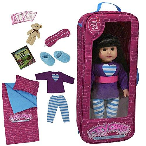 The New York Doll Collection poupée Parure de lit Sac de Voyage et Sleepover avec Ensemble de 9Accessoires pour 45,7cm Poupées
