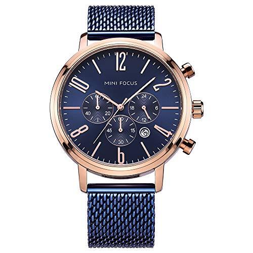 Business Armbanduhr, Mini Focus Herren Edelstahl Mesh Band Chronograph Wasserdicht Sport Datum Quarz Armbanduhr (blau)