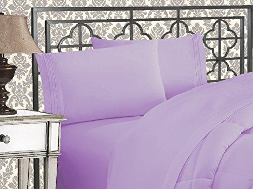 Elegant Comfort TM Luxuriöses Bettwäsche-Set aus ägyptischen DREI Linien, Bestickt, weich, Premium-Hotelqualität Modern Twin/Twin XL Lavendel (Twin Bettwäsche-set Lavendel)