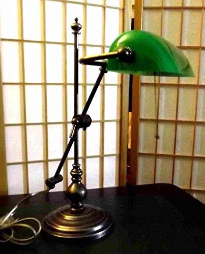 Banker Lampe massiv Messing brüniert 50 cm höhenverstellbarJugendstil