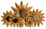 Kunsthandwerk Asien Deko-Spiegel GOLDEN SUN, Holz, 7 Größen, Wandschmuck, Grösse:40 cm