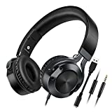 On Ear Headphone, JENTXON Lightweight Foldable Wired Headsets Heavy Bass Headphones 3.5mm Jack With Micrphone for Smartphone Tablet PC Laptop Gaming Black