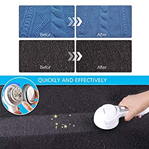 homeasy Fabric Shaver, Electric Lint Remover Lint Razor with 1 Extra Blade Included, 2-Speeds Portable Clothes Shaver Fuzz Removing USB Rechargeable (White)