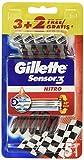 Gillette Sensor3 Nitro Rasoio Usa e Getta, Confezione da 3+2 Pezzi Gratis