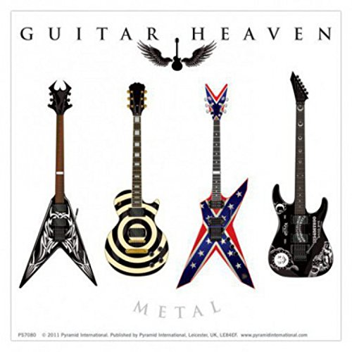 1art1 71125 Gitarren - Guitar Heaven, Metal Poster-Sticker Tattoo Aufkleber 9 x 9 cm -