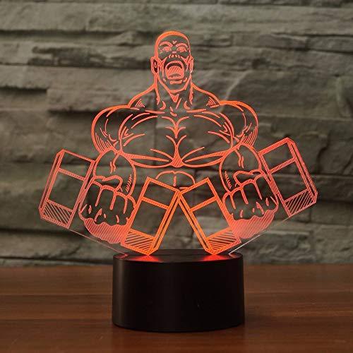 Hantel Muskelmann Form 3D Nachtlicht Schlafzimmer Tischlampe 7 Farben Visuelle LED Lampara Bodybuilding Decor Schlaf Beleuchtung Geschenke -