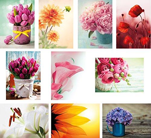20 Blumenpostkarten im Set (10 Motive mit jeweils 2 Postkarten), Geburtstagskarten, Grusskarten, Blumen (Blume Grußkarte)