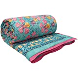 ANOKHI Hand Block Printed Quilt Twin Size GULMOHAR 100% Soft Cotton