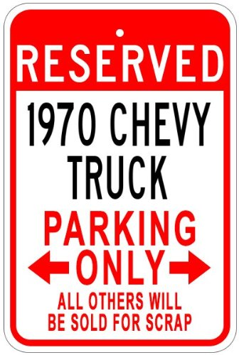 The Lizton Sign Shop Parkschild aus Aluminium 1970 Chevy Truck, Aluminium, weiß, 12 x 18 Inches -