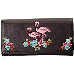 Banned–Mujer Retro XL Monedero–Flamingo bordado piel en negro, rosa o turquesa Negro negro talla única
