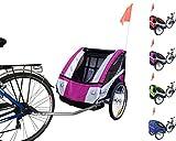 PAPILIOSHOP EAGLE Rimorchio carrello per il trasporto di 1 o 2 bambini in bici (Porpora traffico)